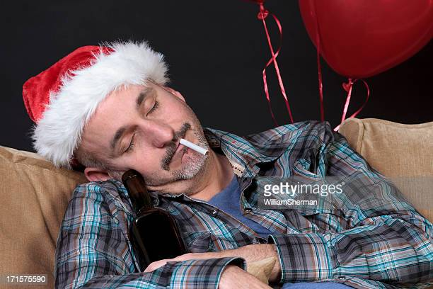 Drunk Man Sleeping After Holiday Party