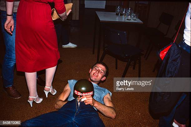 Drunk Marine Friday night as the marines visited Butlins holiday camp Skegness 1982 giving a disply to the crowd and encouraging recruitment during...