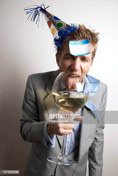 Drunk Office Worker Businessman Drinks at the Party