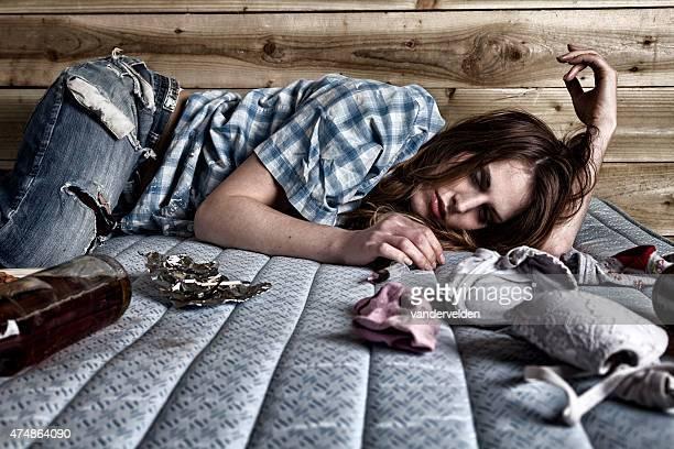Drunken Junkie Asleep On A Dirty Mattress