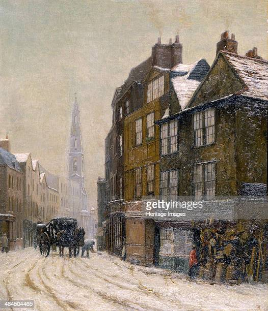 'Drury Court with the Church of St Mary-le-Strand', 1880. Cluttered shop front in a snowy street, with a man shovelling snow next to a carriage. This...
