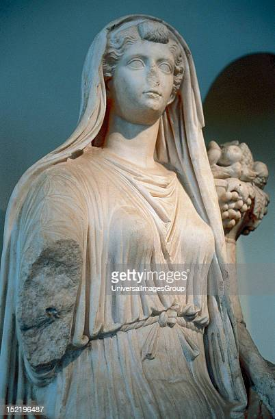 Drusilla , Roman lady, wife of Emperor Augustus, LIVIA depicted as the goddess Ceres, Sculpture from Baena , National Archaeological Museum, Madrid,...