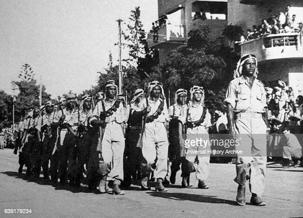 Druze Arab soldiers of the Israel Defence Forces parade on the first anniversary of Independence in 1949.