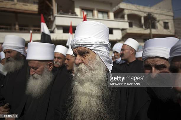 Druze residents of the Golan Heights rally in the village of Majdal Shams on February 14 2010 in protest against the 1981 Israeli annexation law of...