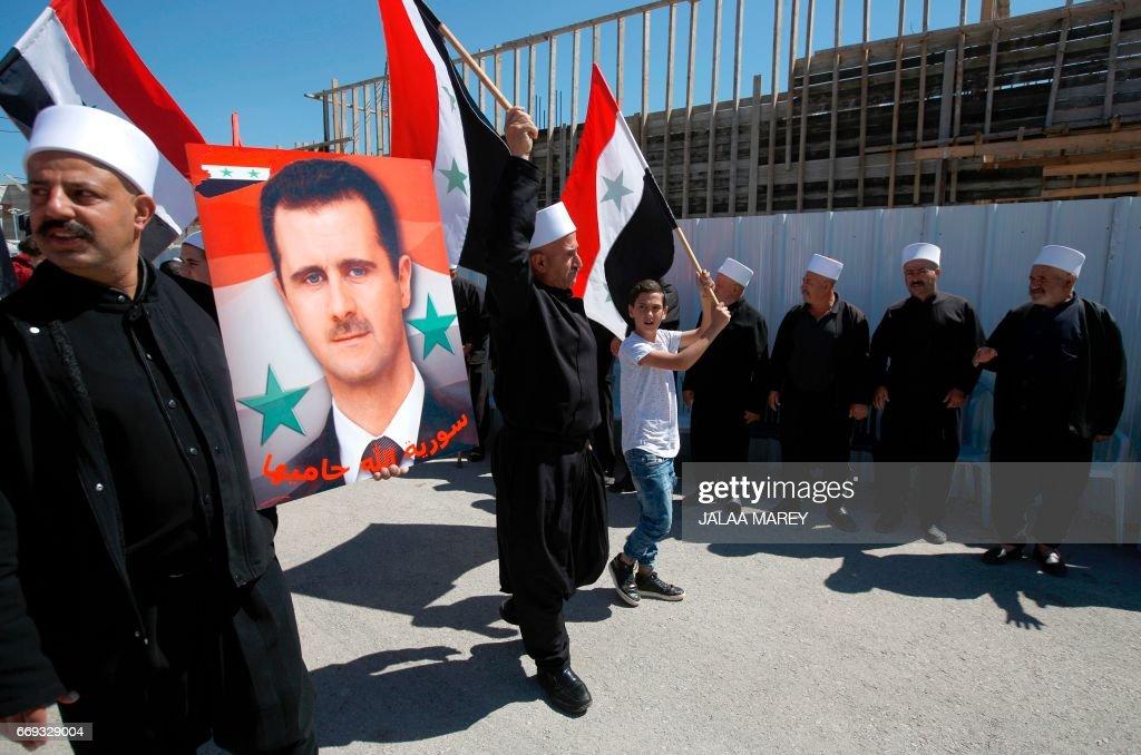 ISRAEL-SYRIA-GOLAN HIGHTS-CONFLICT-DEMO-INDEPENDENCE DAY : Nachrichtenfoto