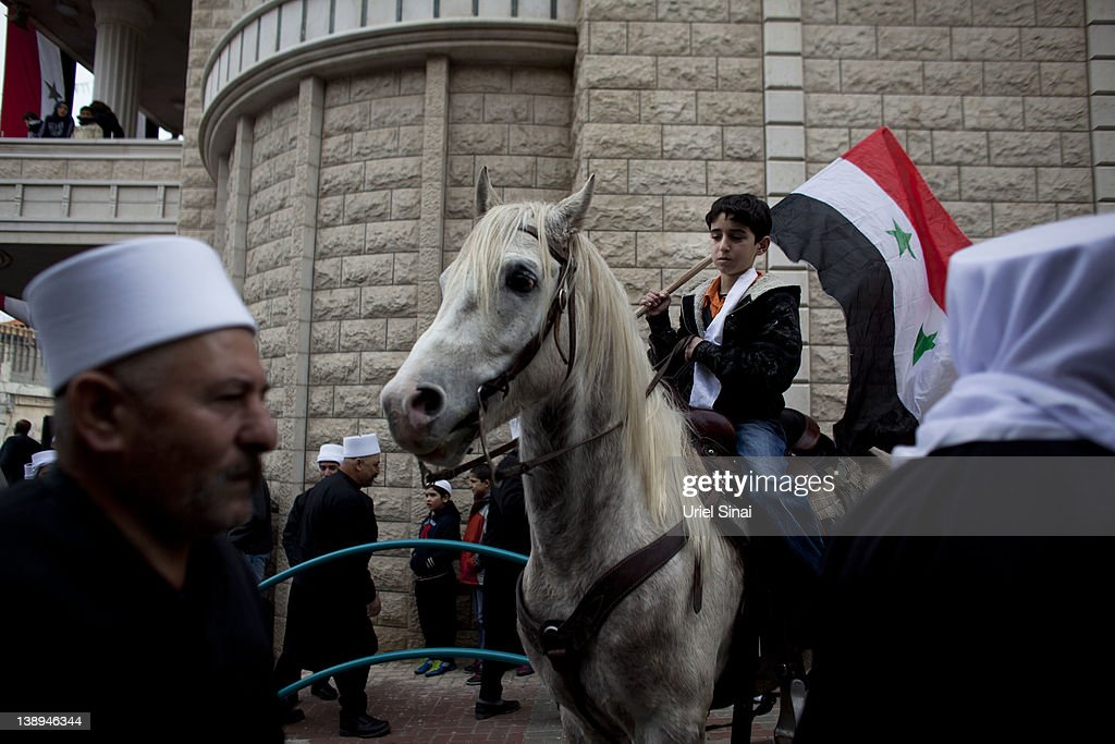 Druze In Occupied Golan Heights Show Support For Syrian President Assad : News Photo