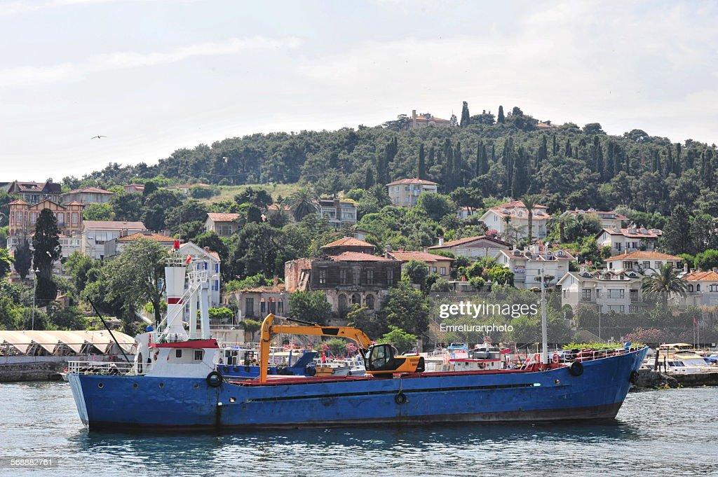 Dry cargo ship at heybeliada port : Stock Photo