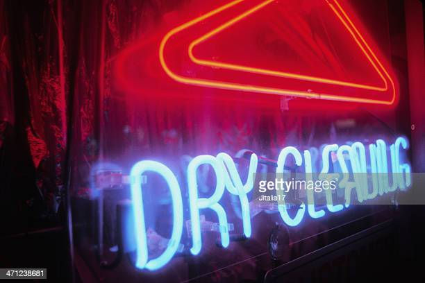 dry cleaning - neon sign at night - dry cleaner stock pictures, royalty-free photos & images
