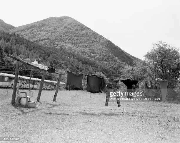 dry clothes outside south of france , entrevaux station - alpes de haute provence stock photos and pictures