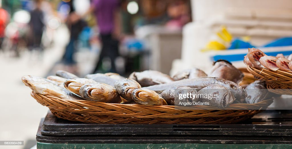 Dry fish from a street vendor : Stock Photo