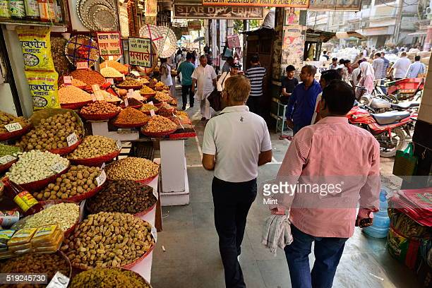 Dry fruits market at Chandni Chowk on June 8 2015 in New Delhi India