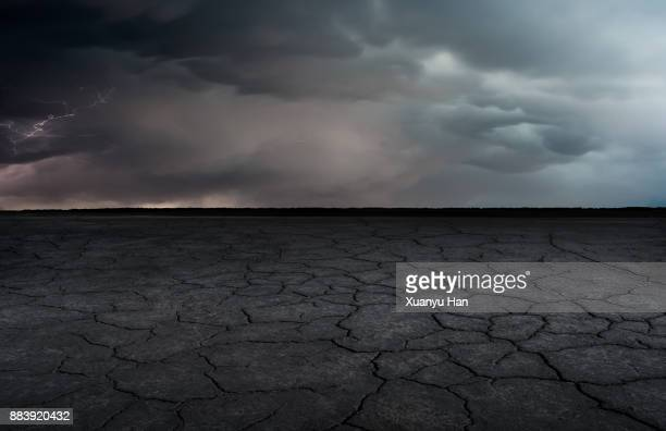 A dry lakebed landscape under the lightning bolts ,Auto advertising background