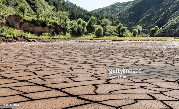 dry land - lake bed stock-fotos und bilder