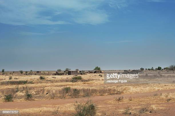dry landscape of grassland in south sudan - sudan stock pictures, royalty-free photos & images
