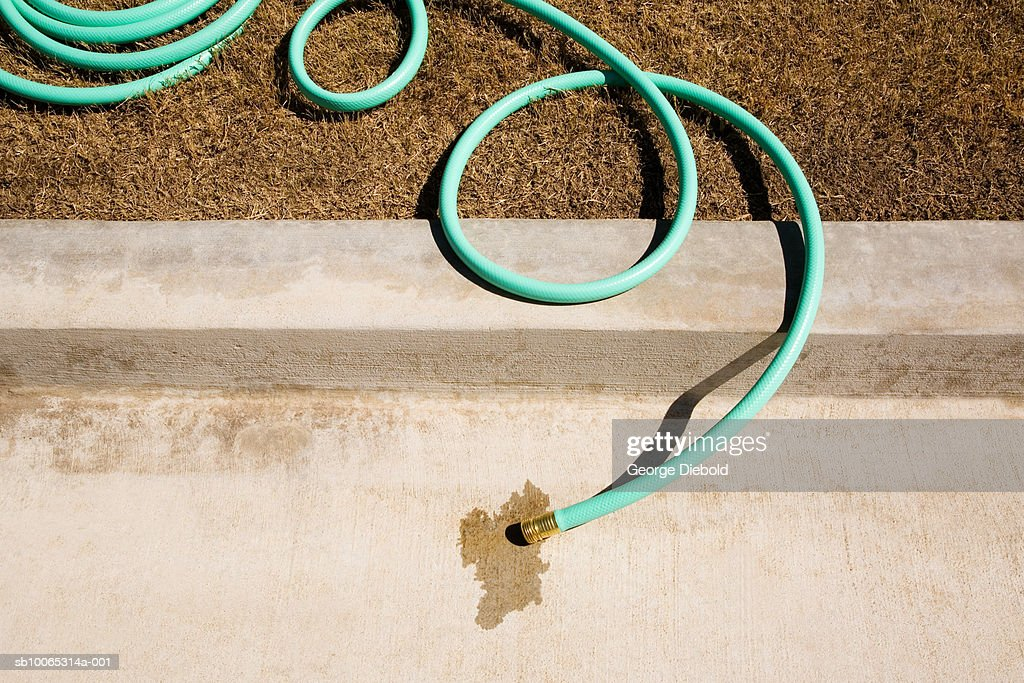 Dry lawn and garden hose on kerb : Foto stock
