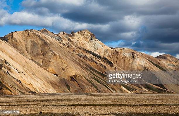 Dry mountains in rural landscape