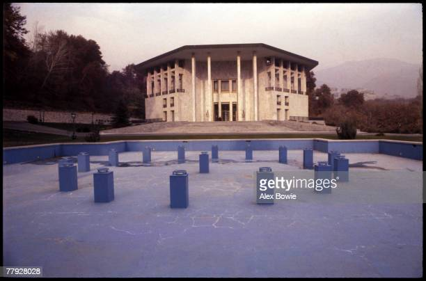 A dry ornamental lake outside the empty Niavaran Palace the former home of exiled Shah of Iran Mohammad Reza Pahlevi Tehran 23rd December 1979 The...