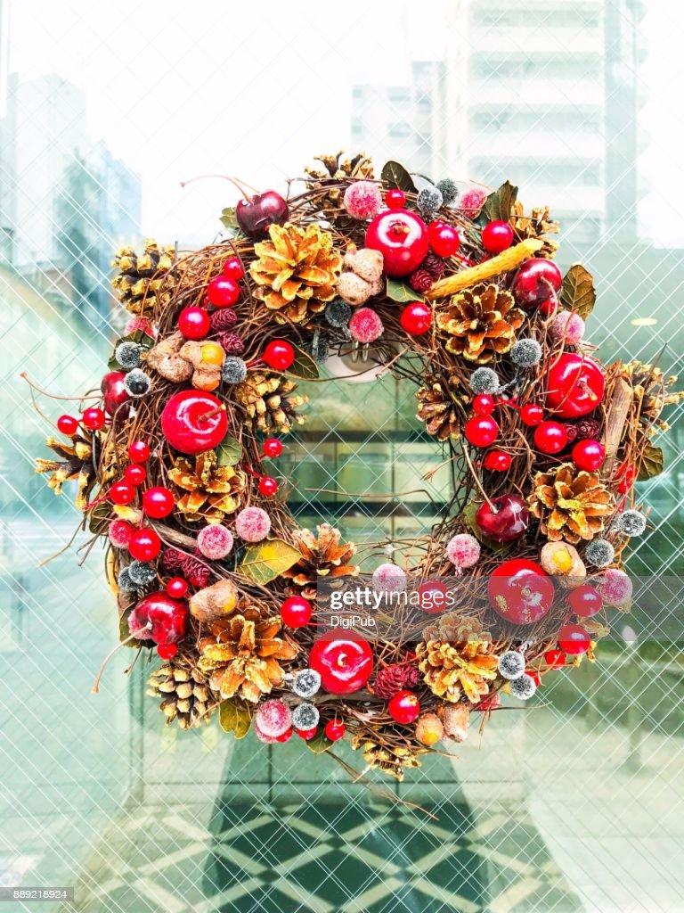 Dry Plant Wreath Hanging On Glass Door : Stock Photo