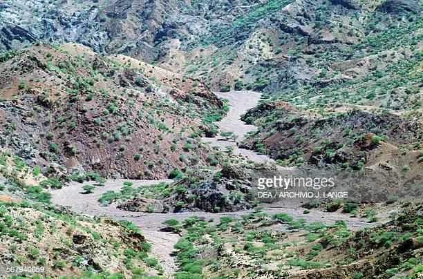 Dry river bed among mountains Djibouti