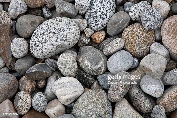 Dry Smooth Pebbles and Rocks in Stream Bed