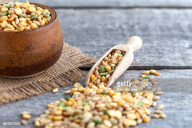 Dry soup mix on wooden background