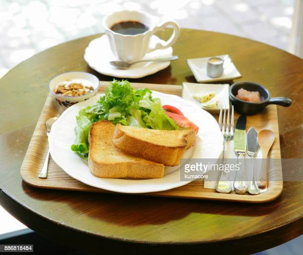 dry toast with coffee - breakfast ストックフォトと画像