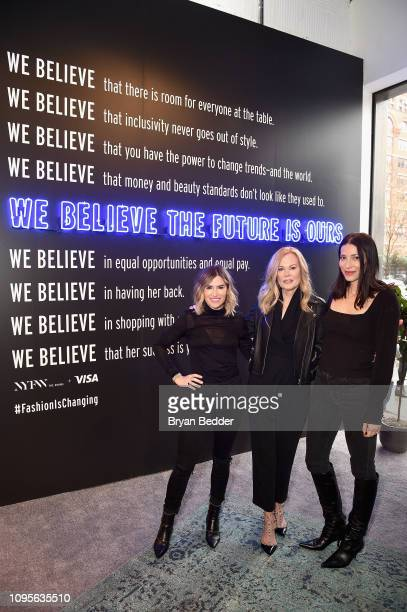 DryBar Founder Alli Webb SVP North America Marketing for Visa Mary Ann Reilly and CEO Founder of Reformation Yael Aflalo pose in front of the Visa...
