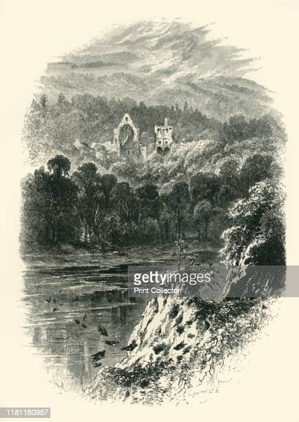 Dryburgh Abbey' circa 1870 Dryburgh Abbey on the River Tweed in the Scottish Borders founded in 1150 by Hugh de Morville From Picturesque Europe The...