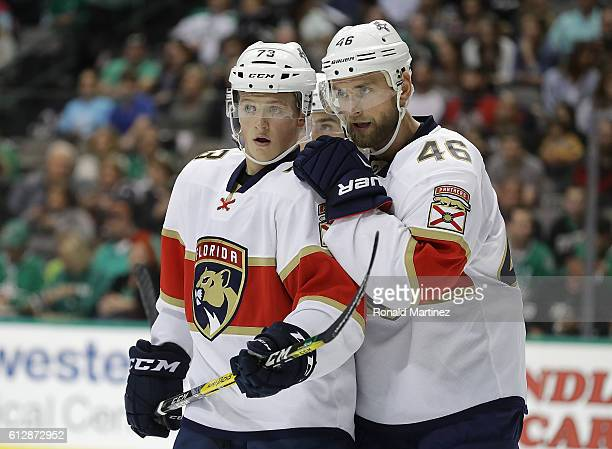 Dryden Hunt and Jakub Kindl of the Florida Panthers during a preseason game at American Airlines Center on October 4 2016 in Dallas Texas