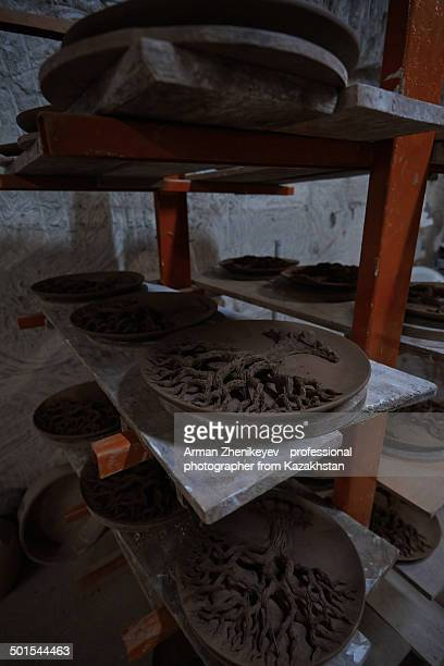 drying clayware at pottery - arman zhenikeyev stock pictures, royalty-free photos & images