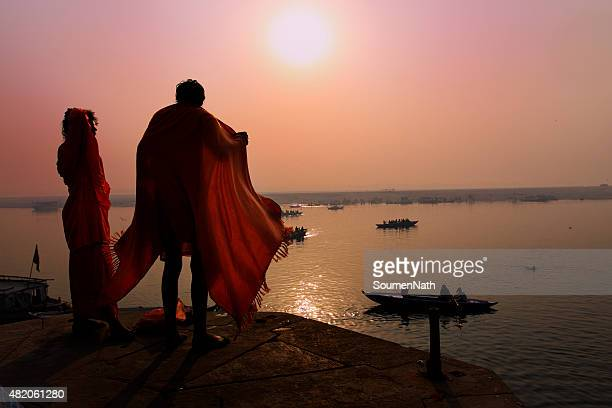 Drying clothes after bath on the banks of Ganges, Varanasi