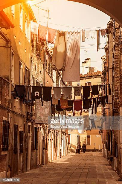 drying clothes in a Venice street