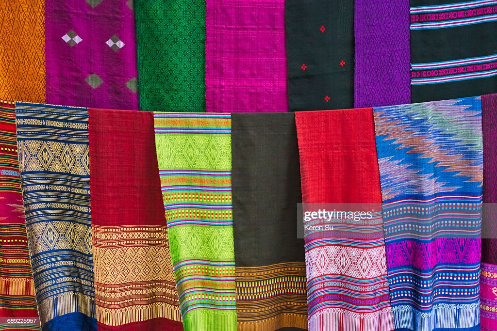 Drying colorful hand woven scarves : Stock Photo