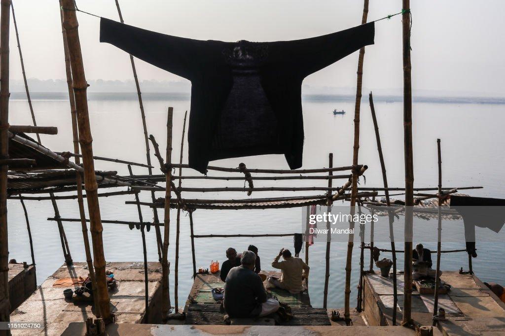 Drying Laundry At Varansai : Stock Photo