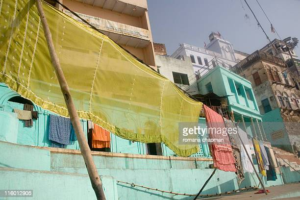 Drying laundry on line at ghat in old town