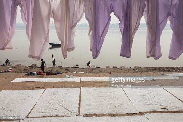 Drying linen by the Ganges river on the Dhobi ghats, Varanasi, Uttar Pradesh, India.