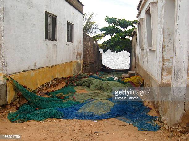 drying nets on mozambique island - nampula province stock pictures, royalty-free photos & images