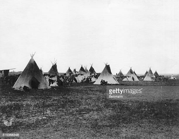 Drying or tanning racks outside tepees in the camp of Sitting Bull on the Standing Rock Agency | Location Standing Rock Agency the Dakotas USA