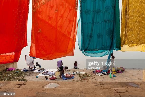 Drying saris at Ganges river