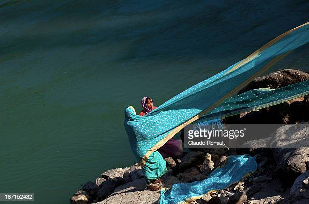 Drying saris on the banks of the Holy Ganges in Rishikesh.