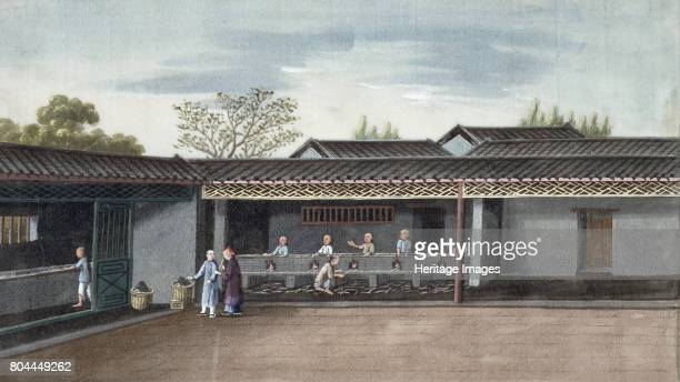 Drying tea leaves China 19th century Artist Unknown