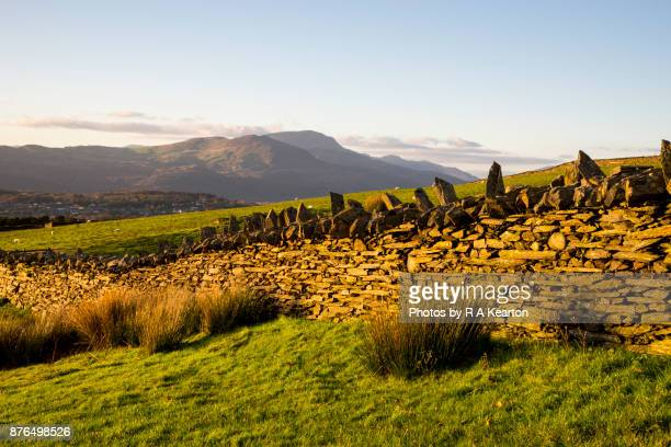 Drystone wall and mountains in Snowdonia, North Wales