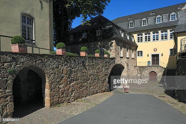 Siegburg, Rhineland, North Rhine-Westphalia, NRW, Benedictine monastery Saint Michael on the Michael hill, baroque, inner courtyard, gate, convent...