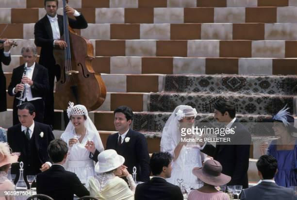 Désirée Nosbusch Joaquim de Almeida Greta Scacchi et Vincent Spano lors du tournage du film 'Good Morning Babilonia' réalisé par les frères Taviani...