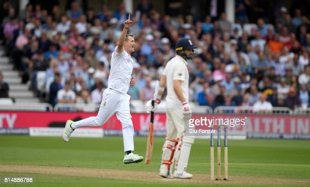 dSouth Africa bowler Chris Morris celebrates after dismissing Mark Wood uring day two of the 2nd Investec Test match between England and South Africa...