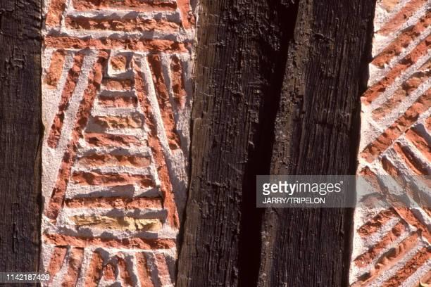 Détail de la façade d'une maison à colombages à BeuvronenAuge dans le Calvados France