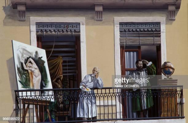 Détail de la fresque des Lyonnais représentant le peintre Pierre Puvis de Chavannes et l'explorateur Giovanni da Verrazzano dans le quartier de...