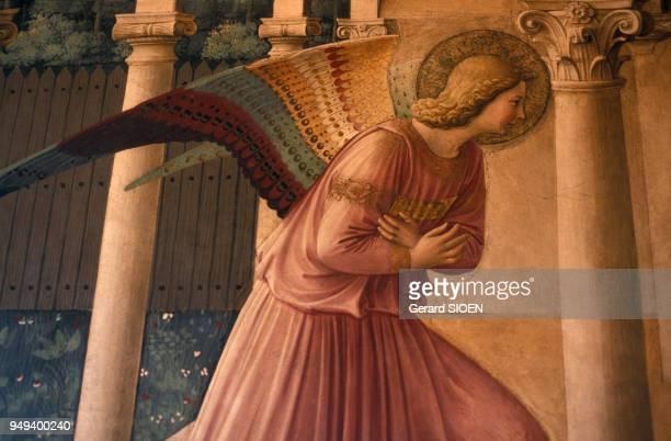 Détail d'une fresque représentant l'Annonciation réalisée par Fra Angelico dans le couvent San Marco à Florence en Italie