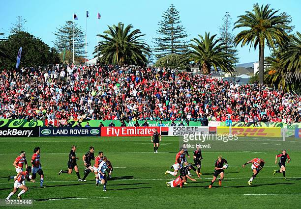 Dth Van Der Merwe of Canada makes a break during the IRB 2011 Rugby World Cup Pool A match between Canada and Japan at McLean Park on September 27,...