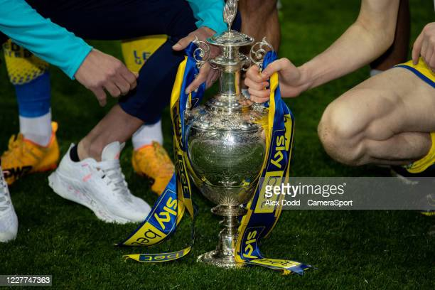 dThe Leeds United team celebrates becoming champions uring the Sky Bet Championship match between Leeds United and Charlton Athletic at Elland Road...
